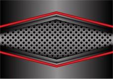 Abstracte rode grijze metaalpijl op van het de bannerontwerp van het cirkelnetwerk moderne futuristische vector als achtergrond Royalty-vrije Stock Foto's