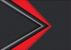 Abstracte rode grijze pijl op zwarte het ontwerp moderne futuristische van het cirkelnetwerk vector als achtergrond Stock Fotografie