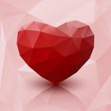 Abstracte rode hart lage poly met bezinning stock illustratie
