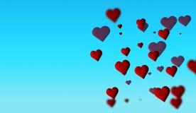 Abstracte rode harten bokeh op kleurrijke geïsoleerde achtergrond stock illustratie