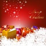 Abstracte rode Kerstmisachtergrond met giftdozen Stock Fotografie