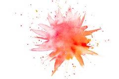 Abstracte rode oranje waterverfplons Stock Fotografie