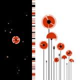 Abstracte rode papaver op zwart-witte achtergrond Royalty-vrije Stock Foto