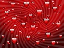 Abstracte rode romantische achtergrond met harten Stock Afbeelding