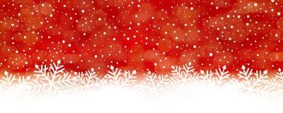 Abstracte rode sneeuwvlokachtergrond, panorama Stock Fotografie