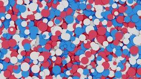 Abstracte rode, witte en rode cirkelsachtergrond het 3d teruggeven Stock Fotografie