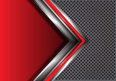 Abstracte rode zilveren pijl met lege ruimte op grijze het ontwerp moderne futuristische van het cirkelnetwerk vector als achterg vector illustratie