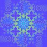 Abstracte ronde bloemenornamenten turkooise blauwe purpere lichtgroen Royalty-vrije Stock Afbeelding