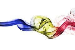 Abstracte rook in de kleuren van de vlag van Andorra royalty-vrije illustratie