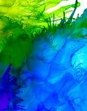 Abstracte rooster blauwe en groene plonsen Stock Fotografie