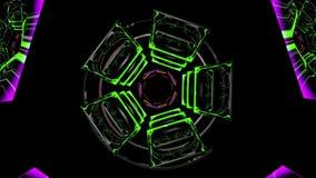Abstracte roterende stukken in groen en geel stock video