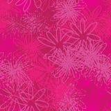 Abstracte Roze bloem-Monochromatische Bloemen Naadloos herhaal Patroonachtergrond in Punchy Roze royalty-vrije illustratie