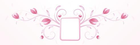 Abstracte roze bloemenachtergrond met frame Royalty-vrije Stock Afbeelding