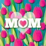 Abstracte roze Bloemengroetkaart - Gelukkige Moedersdag - mamma en witte roze harten met Bos van de Lentetulpen Royalty-vrije Stock Afbeelding