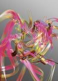 Abstracte roze en gouden linten Royalty-vrije Stock Afbeeldingen