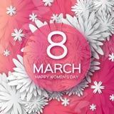 Abstracte Roze Witte Bloemengroetkaart - de Dag van Internationale Gelukkige Vrouwen - 8 Maart-vakantieachtergrond Stock Afbeelding