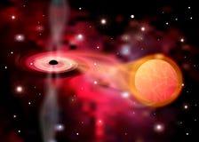Abstracte ruimte - een zwart gat Kosmos Zwart gat in ruimte Sterren en materiële dalingen in een zwart gat Zwart gat die planeten royalty-vrije illustratie