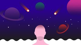 Abstracte ruimteachtergrond met planeten, sterren en mens royalty-vrije illustratie