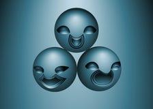 Abstracte samenstelling als achtergrond die van blauwe glimlachen wordt gemaakt Royalty-vrije Stock Afbeeldingen