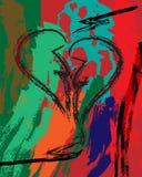 Abstracte samenstelling als achtergrond met gebroken hart royalty-vrije illustratie