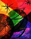 Abstracte samenstelling als achtergrond met Kerstmisboom en geometrische cijfers stock illustratie
