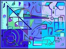 Abstracte samenstelling, buitensporige gebogen en geometrische blauwe vormen op lichtblauwe achtergrond 17 -266 Royalty-vrije Stock Foto