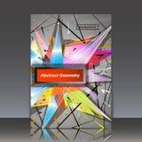 Abstracte samenstelling, geometrische explosie, het ornament van het driehoekslapwerk, a4 het blad van de brochuretitel, de achte Royalty-vrije Stock Foto
