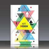 Abstracte samenstelling, a4 het blad van de brochuretitel, geometrische vorm, vliegend driehoekspictogram, de achtergrond van de  Royalty-vrije Stock Afbeeldingen