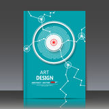 Abstracte samenstelling, het scharlaken blad van de brochuretitel, groene achtergrond, punt en lijnen, lichte stralen, EPS 10 vec Royalty-vrije Stock Afbeeldingen