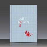 Abstracte samenstelling, het spellen het thema van de foutcorrectie, rode inkblot, orphographyachtergrond, a4 het blad van de bro Royalty-vrije Stock Fotografie