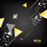 Abstracte samenstelling, het vliegen gemetric vorm, de groep van het driehoekscijfer Royalty-vrije Stock Fotografie