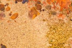 Abstracte samenstelling met mengeling van olie, water en kleurrijke inkt Stock Foto