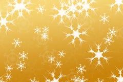 Abstracte samenstelling, sneeuw achtergrondgoud Royalty-vrije Stock Afbeeldingen