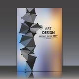 Abstracte samenstelling, veelhoekige driehoeksbouw, verbindende punten en lijnen, a4 het blad van de brochuretitel, ruimtehemelac Royalty-vrije Stock Fotografie