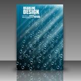 Abstracte samenstelling, waterbol, luchtparel in oceaan, a4 brochure Stock Afbeeldingen
