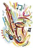 Abstracte Saxofoonschets Stock Afbeeldingen