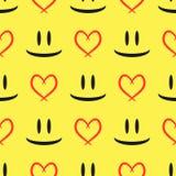 Abstracte schets van de de ogen en het glimlachen mond Contour van het hart Naadloos patroon Stock Afbeelding