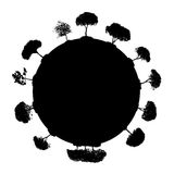 Abstracte Silhouetboom Vector illustratie Stock Afbeelding