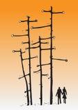 Abstracte silhouetminnaar in een bos Royalty-vrije Stock Afbeeldingen