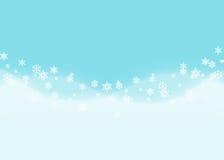 Abstracte sneeuwvlokachtergrond met de blauwe golf van de sneeuwafwijking Stock Foto's