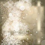 Abstracte sneeuwvlokachtergrond van vakantielichten Stock Foto
