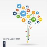 Abstracte Sociale media achtergrond Het concept van de de groeibloem Stock Foto's