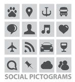 Abstracte sociale pictogrammensymbolen geplaatst geïsoleerde Stock Afbeelding
