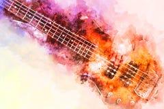 Abstracte speel akoestische gitaarwaterverf het schilderen achtergrond royalty-vrije stock foto's