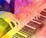 Abstracte speel de waterverf van het pianotoetsenbord het schilderen achtergrond stock illustratie