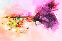 Abstracte speelsnookerwaterverf het schilderen achtergrond stock foto