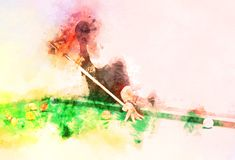 Abstracte speelsnookerwaterverf het schilderen achtergrond stock fotografie