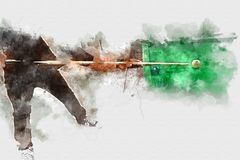 Abstracte speelsnookerwaterverf het schilderen achtergrond royalty-vrije stock foto's