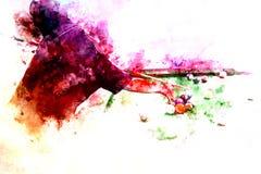 Abstracte speelsnookerwaterverf het schilderen achtergrond stock afbeelding