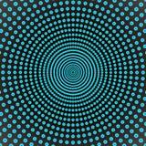 Abstracte Spinnende Blauwe Punten op Donkere Achtergrond royalty-vrije stock afbeeldingen